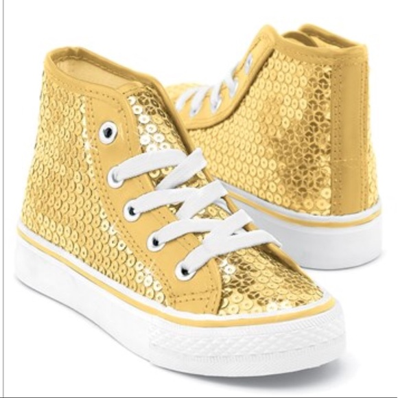 Gold Sequin Converse Shoes High Tops